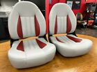 Boat Seats TEMPRESS ProBax GRAY RED (2) SEATS PAIR Made in USA