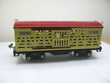 MTH Tinplate Traditions No. 500 Cattle Car Cream and Maroon with Nickel Trim 10-