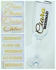 VINYL Wedding Decal Wine Glass Champagne Flute Name Role Sticker