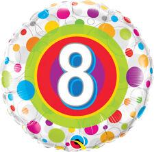 "8th BIRTHDAY PARTY SUPPLIES 18"" AGE 8 COLOURFUL DOTS QUALATEX FOIL BALLOON"