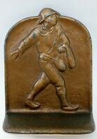ANTIQUE BRONZE BRASS BOOKEND SOWER JOHNNIE APPLESEED FIGURAL SNEAD & Co.1925 DAL