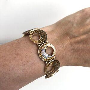 M&S Orange Enamel Stretchy Bracelet Round Flat Beads Swirls Glitter Costume