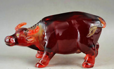 180mm COLLECTIBLE DELICATE CHINESE AMBER HAND CARVE CATTLE STATUE