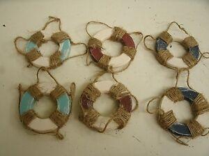 "Lot of 6 Wood Nautical Beach Life Preserver Ornaments - 2 5/8"""