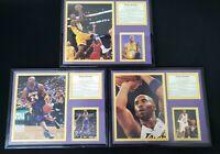 "Kobe Bryant Art NBA Lakers Black Plastic Framed Picture Print 14""x11"" Lot of 3!"
