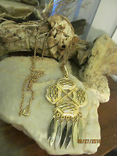 Vintage Gold tone Huge Maltese Cross Dangle Pendant Necklace