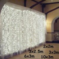 LED Icicle Lights String Outdoor Curtain Fairy Xmas Hanging Christmas Garden