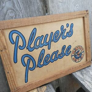Players navy cut sign shipping box advertising wall hanging vintage man cave L4