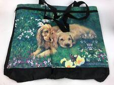 Nylon Tote Beach Bag Puppies Butterfly Norman Coker Zipper Closure