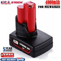 12V 4Ah For Milwaukee 48-11-2460 48-11-2440 M12 XC 6.0 LITHIUM Cordless Battery
