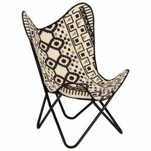 vidaXL Butterfly Sessel Bedruckte Canvas Schmetterlingsstuhl Relaxstuhl Stuhl