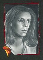 1/1 Sketch Card AP Fright Rags Halloween Jamie Lee Curtis Laurie Strode Rosales