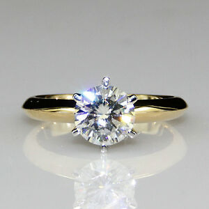 Classic 6 Prong 1ct Moissanite 10K Two Tone Gold Solitaire Engagement Ring