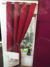 Raspberry  Purple Red 100% Cotton Ring Top Pair Of Curtains 66x90""