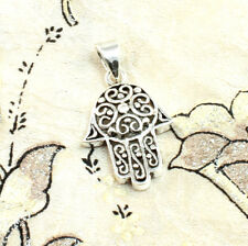 925 Sterling Silver Filigree Hamsa Hand Pendant | Stamped