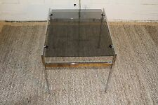 Mid Century Modern Chrome & Smoked Glass Floating End Side Coffee Table
