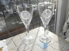ELEGANT EDINBURGH CUT LEAD CRYSTAL GLASS PAIR CHAMPAGNE GLASSES CENTRAX 1996 50