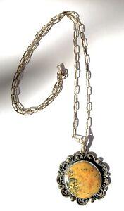 Vtg Jose Luis Flores Sterling Silver Link Necklace & Yellow Moss Jasper Pendant
