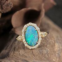 New Solid 14k Yellow Gold Genuine 1.17 Ct Opal Gemstone Diamond Ring Jewelry