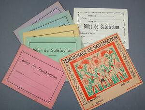 BON POINT ECOLE SCOLAIRE 7 BILLETS DE SATISFACTION ANCIENS VIERGE  SCHOOL OLD