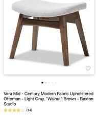 Vera Mid-Century Modern Light Grey Fabric & Walnut-Finish Wood Footstool Ottoman