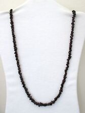 "Dark Red Garnet Natural Chip Stones Small Beads 32"" Long Necklace. DGSM. NWT"