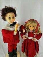 Vintage Chistmas Animated Moving Lights Telco Motionettes Choir Girl Boy 2' Tall