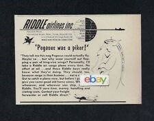 RIDDLE AIRLINES MIAMI 1955 PEGASUS WAS A PICKER! C-46 FREIGHTERS AD