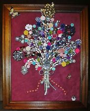 Jewelry Art Bouquet with Gold tone bow, just full of Sparkle, signed by Artist,
