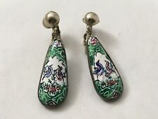 """Green & White Clip On Earrings Bird Designs 1.125"""" Hand Painted Cloisonné Style"""