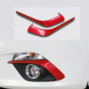 FOR Mazda Axela 3 2014-2016 2015 Bright red Front fog light eyebrow trim 2pcs