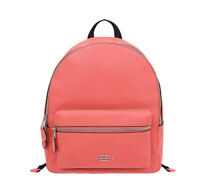NWT COACH Medium Charlie Backpack Cute Leather School Coral Pink Silver F30550