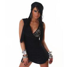 Cocktailkleid Minikleid Trägerkleid mit Spitze Kleid  Schwarz S / M 34 36 38