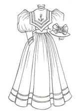"""Sewing Pattern size is for a 23""""-24""""Lady doll hat Gibson girl sailor dress 1182"""