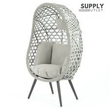 Naples Single Rattan Wicker Home Cocoon Egg Chair Floor Standing Garden Outdoors