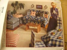 UNCUT sewing pattern DOLLHOUSE FURNITURE barbie doll bed couch chair Mccall 8140