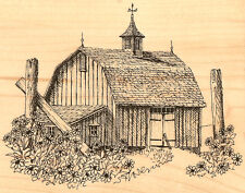 Country Barn Flowers Wood Mounted Rubber Stamp Impression Obsession K11159 NEW