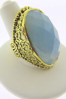 Sajen Bronze by Marianna and Richard Jacobs Oval Blue Gray Quartz Ring