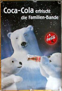 COCA COLA erfrischt die Familien-Bande EISBÄREN  Plakat Werbung 118x175cm RIESIG