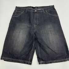 ASK Denim Shorts Mens 42X15 Gray Flat Front Cotton Gray Wash Flap Back Pockets
