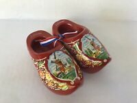 "Holland Dutch bright red shoes clogs decorative wooden hand painted 4"" vintage"