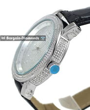 mens diamond silver clubbing ice out case watch black leather dlx Gift Box Maxx