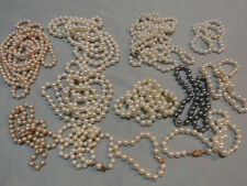 Lot Of Vintage & Antique Knotted Glass Or Real Pearl Necklaces White Cream Black