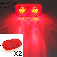 2pcs Red 12 LED Side Marker Lights For Car Truck Trailer Lorry Van Pickup 12/24v