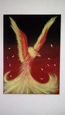 """Tableau comptemporain """" l'oiseau de feu """" - ton noir rouge jaune - TOILE UNIQUE"""