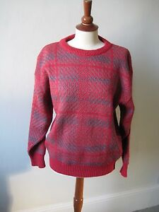 Italian red and grey check acryl/wool mix jumper, IT 40