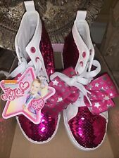 New listing JoJo Siwa Girls Size 4 High Top Reversible Sequin Sneakers Shoes Magenta pink