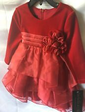 Isobella and Chloe Girls Red Velour And Organza Tiered Party Dress Size 4T-New