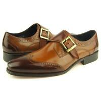 Carrucci Wingtip Monk Strap, Men's Dress Leather Shoes, Cognac 8-15US
