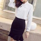 Women Ladies Office High Waist Ruffle Frill Bodycon Pencil Short Mini Skirt .